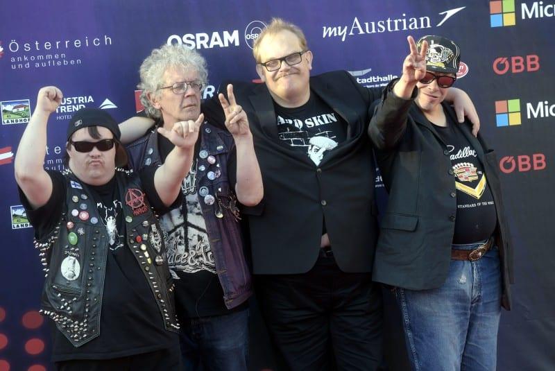 Punk-yhtye Pertti Kurikan Nimipäivät edusti Suomea Eurovisionin laulukilpailuissa keväällä 2015 Wienissä. Lehtikuva / Vesa Moilanen