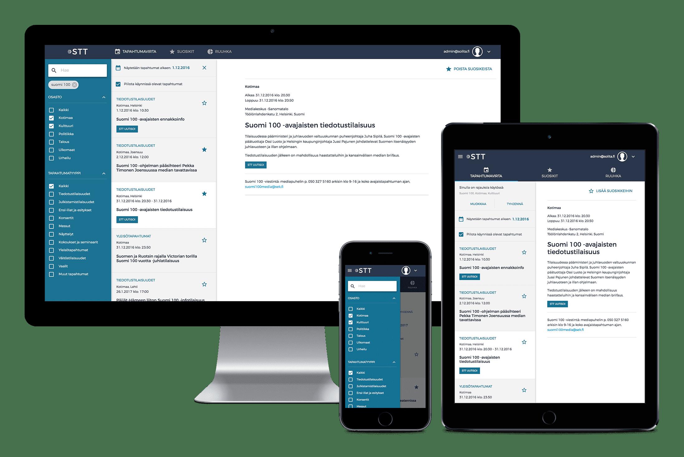 STT Pro -tapahtumatietopalvelun perusnäkymä tietokoneen, matkapuhelimen ja tabletin näytöillä.