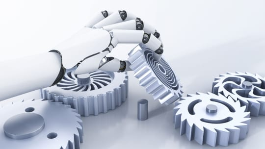 Valkoinen robottikäsi asettelee hammasratasta paikoilleen, piirroskuva.