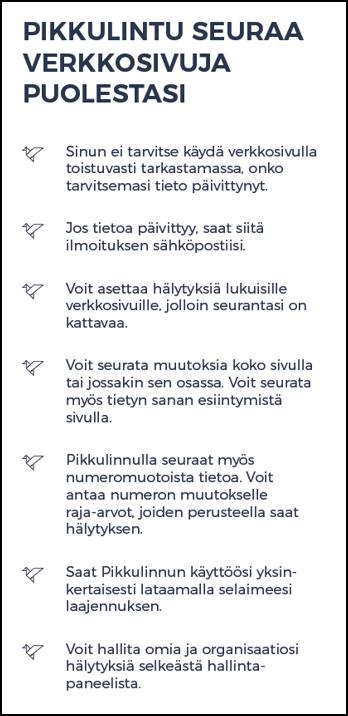 Ohjelistaus STT Pikkulinnun perustoiminnoista.
