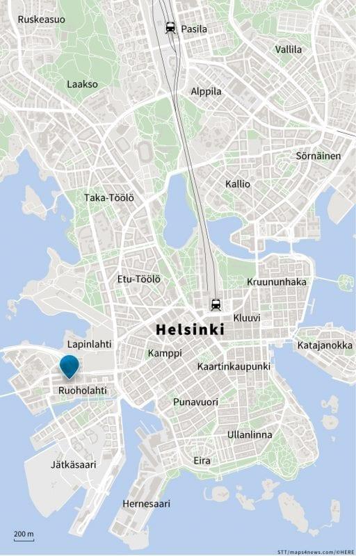 Helsingin keskustaa esittävään karttakuvaan on merkitty STT:n toimituksen sijainti.