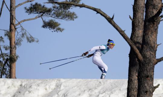 Maastohiihtäjä Kerttu Niskanen hiihtää Pyeongchangin olympialaisissa.