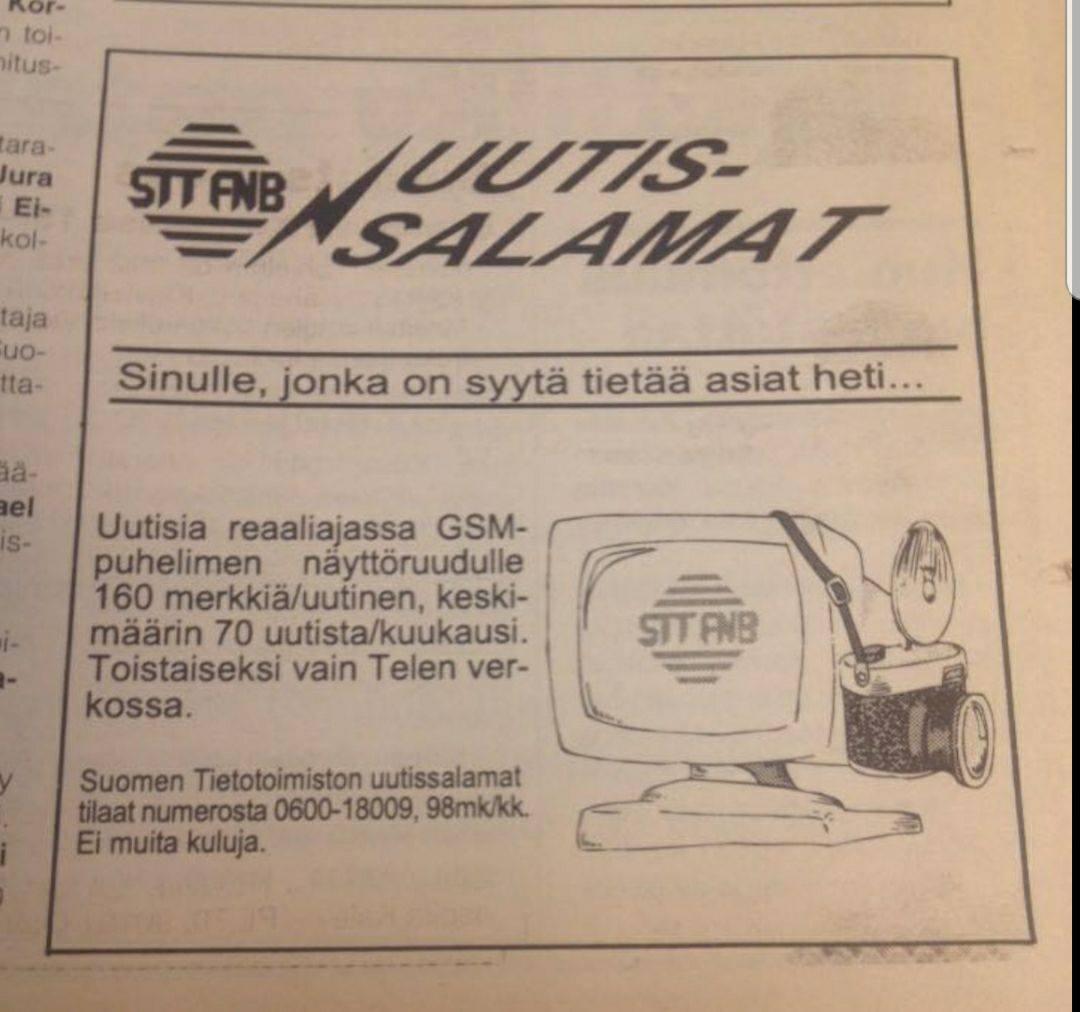 Uutissalamat-nimellä kutsuttua tekstiviestiuutispalvelua mainostettiin lehdessä.