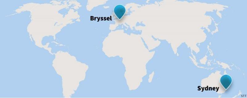 Maailmankartta, johon on merkitty STT:n toimipisteet Brysselissä ja Sydneyssä.
